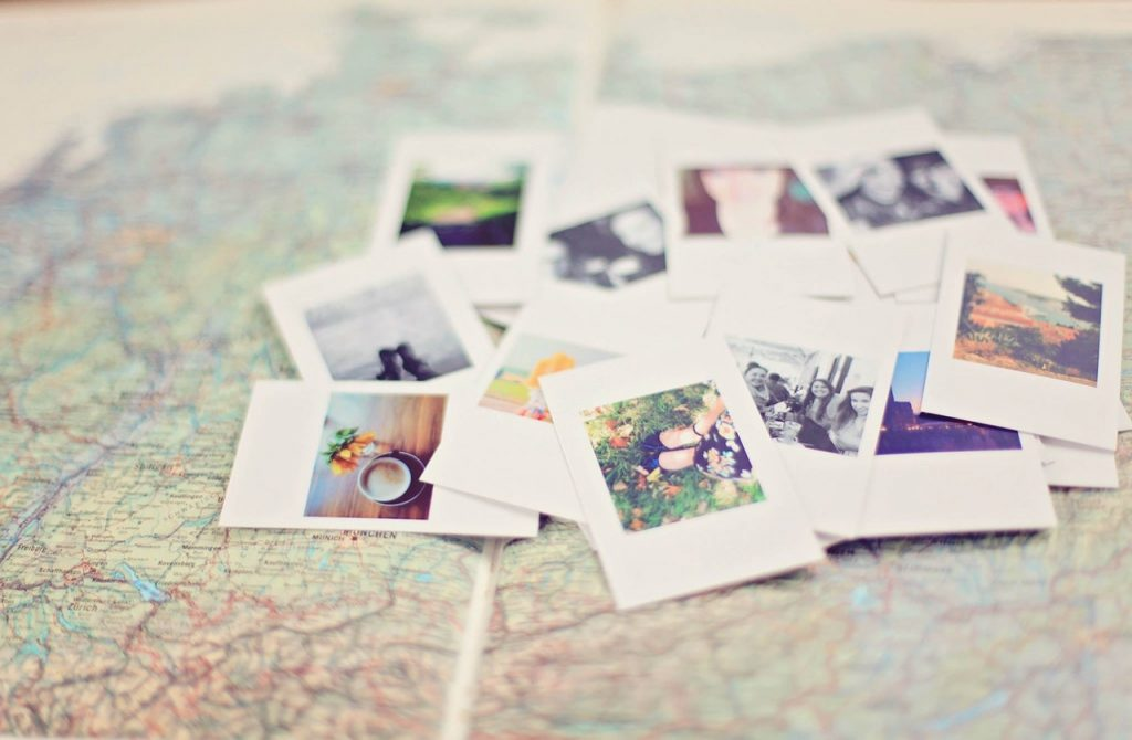 Close up of pictures on the map